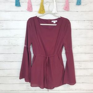Love Riche Burgundy Bell Sleeve Romper Size Small